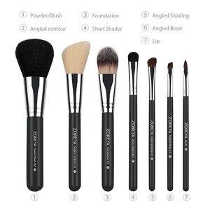 Image 2 - Zoreya Brand 7Pcs Black Natural Goat Hair Lip Professional Makeup Brushes Blush Powder Foundation Eye Shadow Makeup Tools Wool