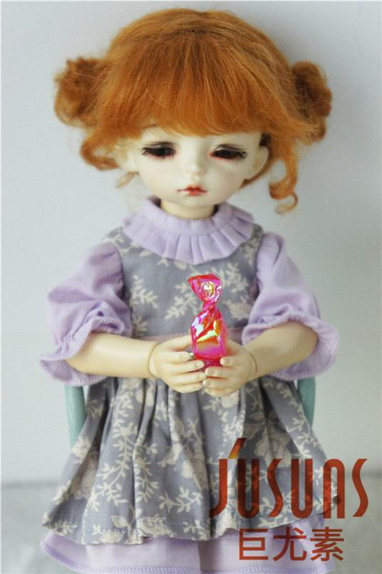 JD406 1/6 Lovely two pony Mohair BJD doll Wigs soft doll wig size 6-7 inch Lati yellow BJD doll wigs 406