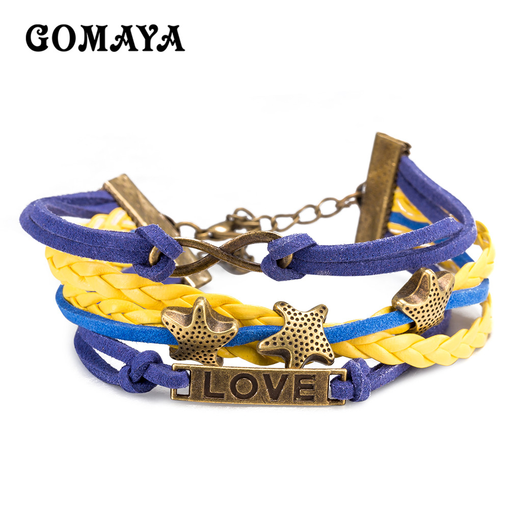 GOMAYA Lesther Bracelet Romantic Love Star For Women Purple Blue yellow Color Jewelry Girl Female Gift in Charm Bracelets from Jewelry Accessories