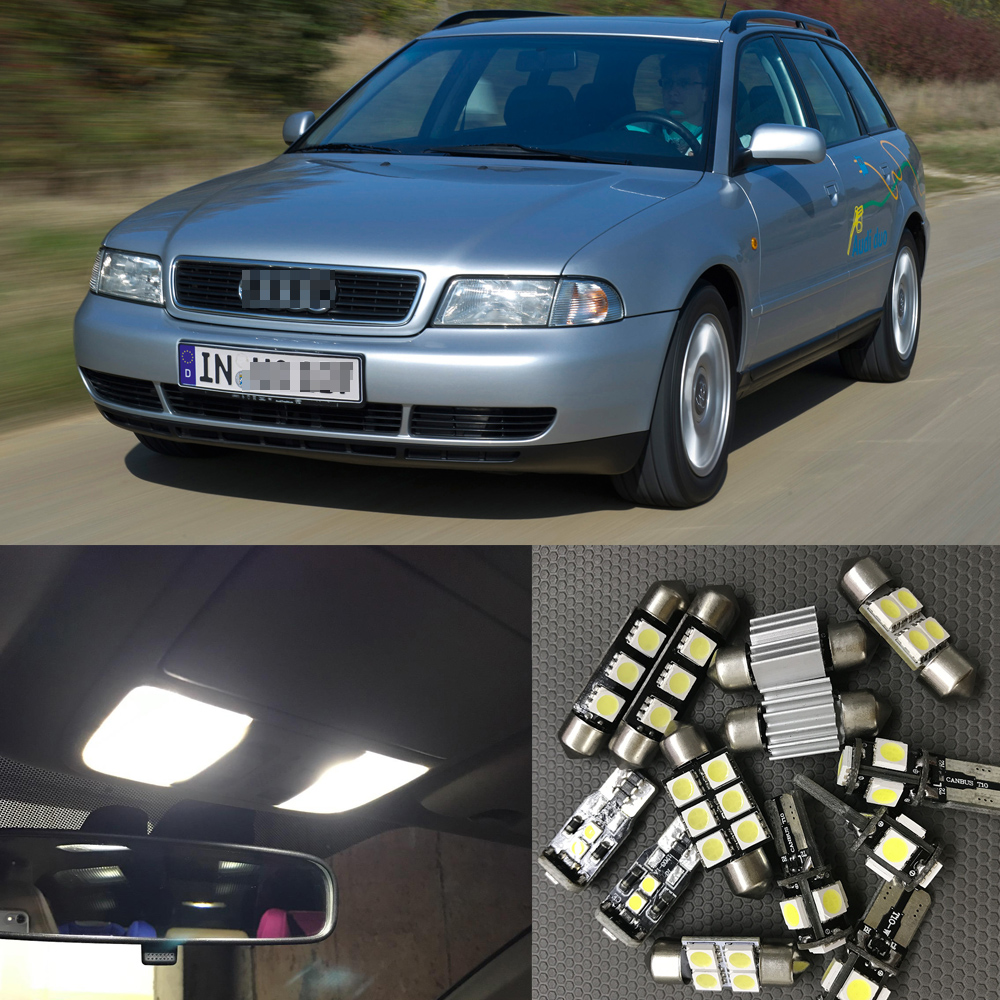 13pcs Auto <font><b>LED</b></font> Interior Light Bulbs Canbus Kit For 1996-1998 <font><b>Audi</b></font> <font><b>A4</b></font> <font><b>B5</b></font> White <font><b>Led</b></font> Dome Step Courtesy License Plate Light Lamp image