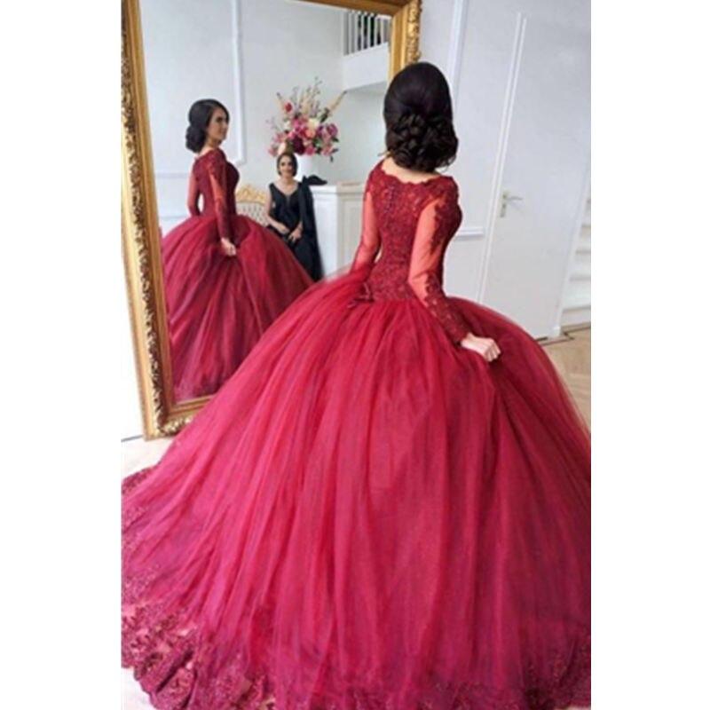Élégante robe de bal en dentelle rouge Quinceanera robes manches longues appliques balayage Train Debutante robes sur mesure doux 16