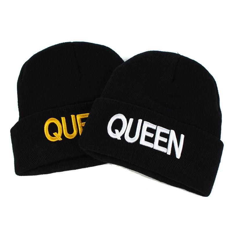 2019 cotton king queen letter embroidery Thicken knitted hat winter warm hat   Skullies   cap   beanie   hat for men and women 38