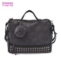 Vintage Nubuck Leather Female Top Handle Bags Rivet Larger Fashion Women Bags Hair Ball Shoulder Bag