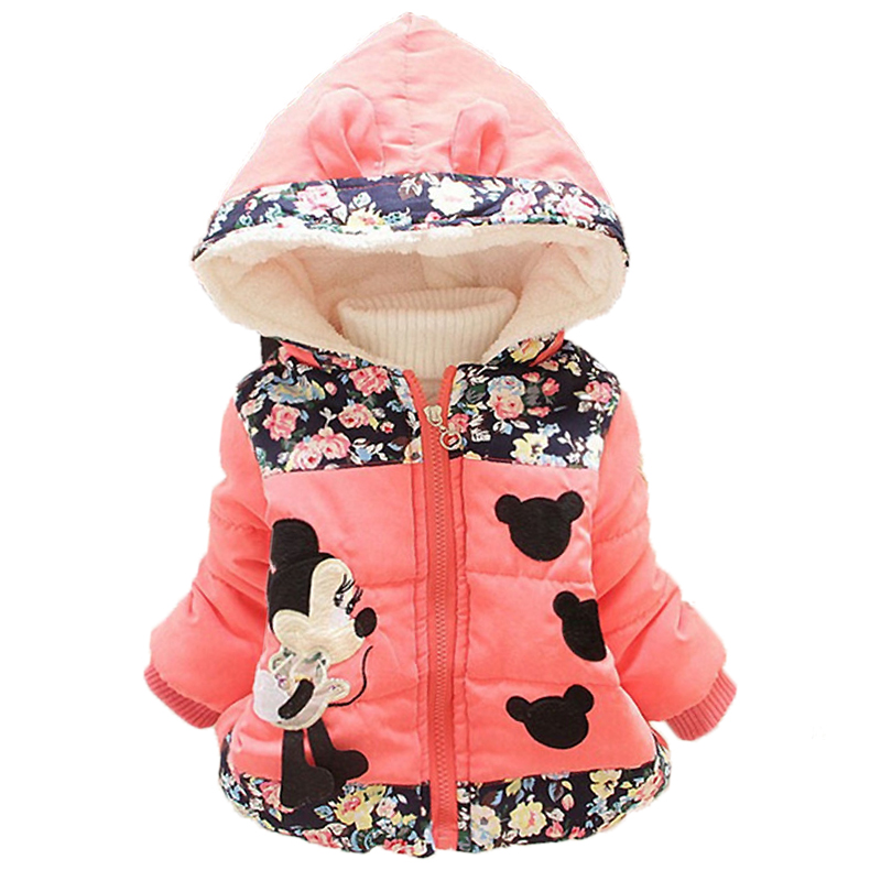Winter Baby Jackets For Girls Clothes Baby Clothing Kids Hooded Coats Toddler Warm Minnie Mickey Jacket Infant Boys Outerwear