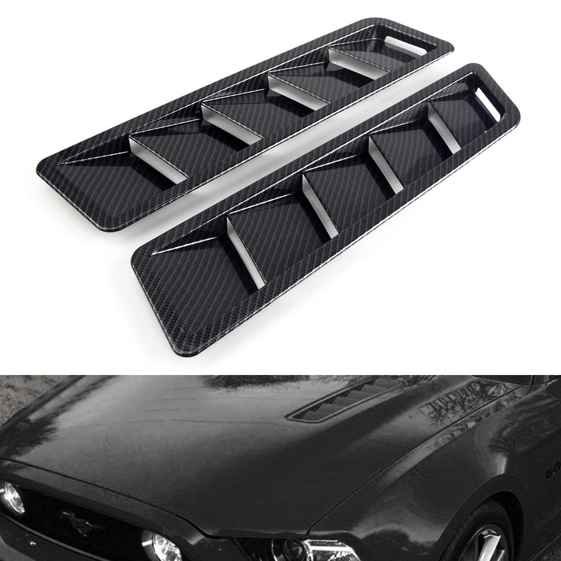 DWCX 2pcs Universal Solid Carbon Fiber Look Style Hood Vent Louver Cooling Panel Trim