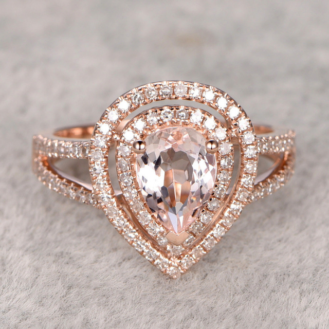 Кольцо Для Женщин 1.3CT 6x8 мм груша Морганит Обручальное Кольцо 14 К Розовое Золото Двойной Обручальное кольцо камень Свадебный Комплект