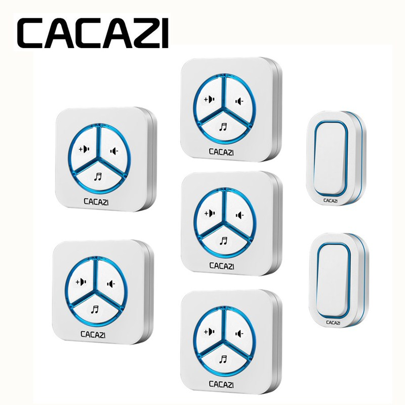 CACAZI Wireless Battery Waterproof Doorbell Call 12V23A Smart Household Ring bell 48 Songs 280M Remoto US EU UK AU Plug Receiver цены