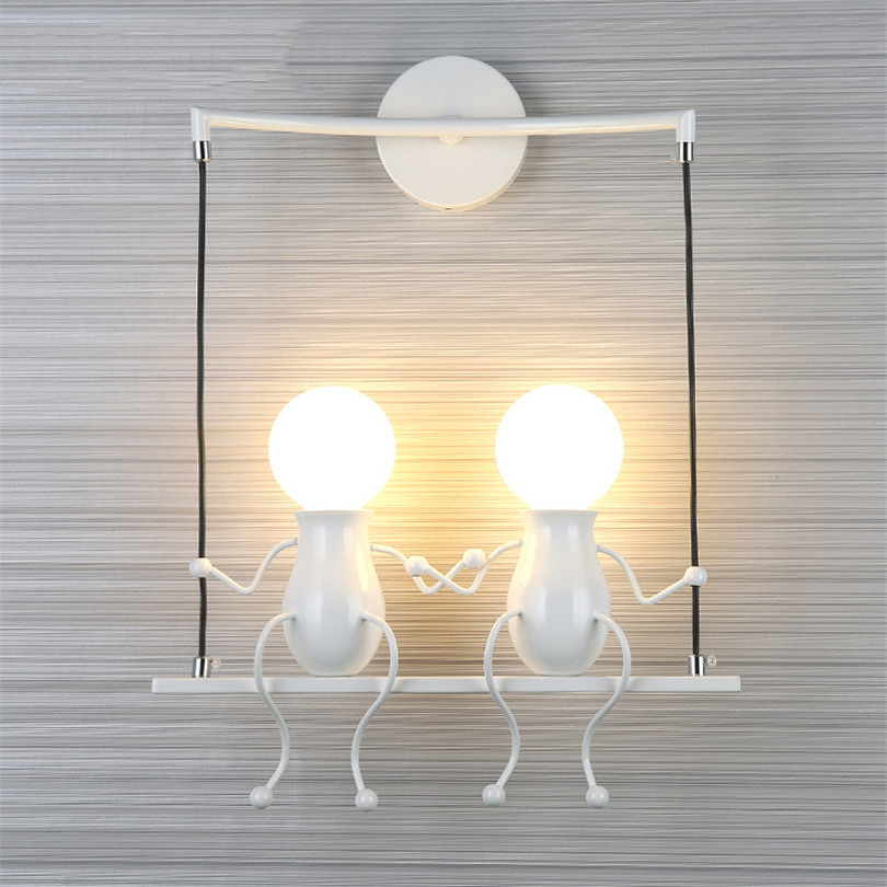 Modern LED Creative Cartoon Doll Wall Light fixture Iron Sconce Lighting Lamp for Kids Baby Room Living Room Bedroom Decoration creative waterproof flowers pattern wall stickers for living room bedroom decoration