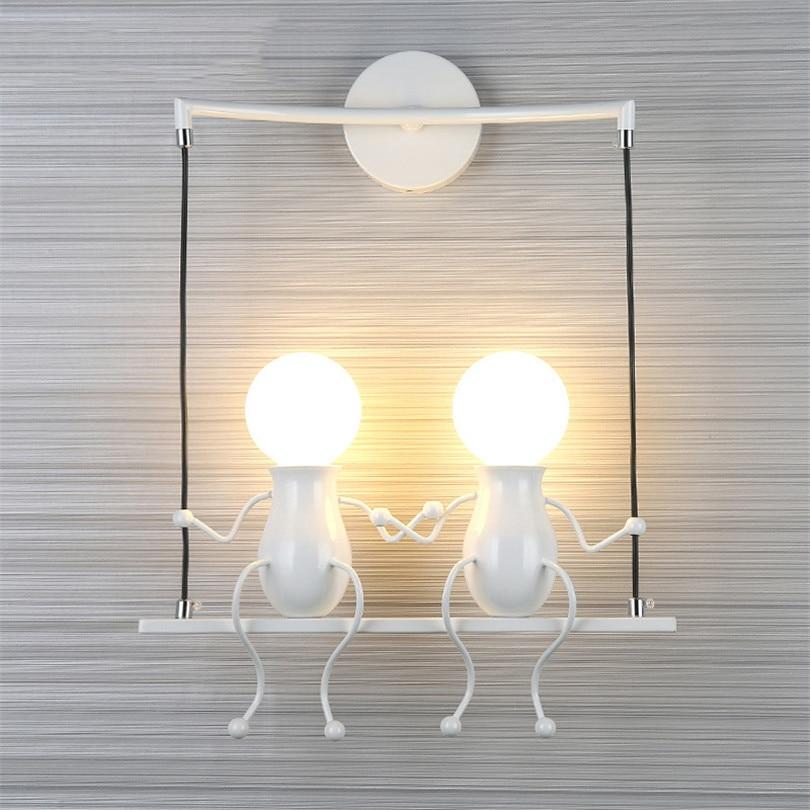 Modern LED Creative Cartoon Doll Wall Light fixture Iron Sconce Lighting Lamp for Kids Baby Room Living Room Bedroom Decoration цена