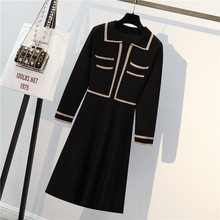 M-4XL Plus Size Women Elegant Sweater Dress 2018 Winter Turn-down Collar Long Sleeve Patchwork Fake Two Piece Knitted Midi Dress