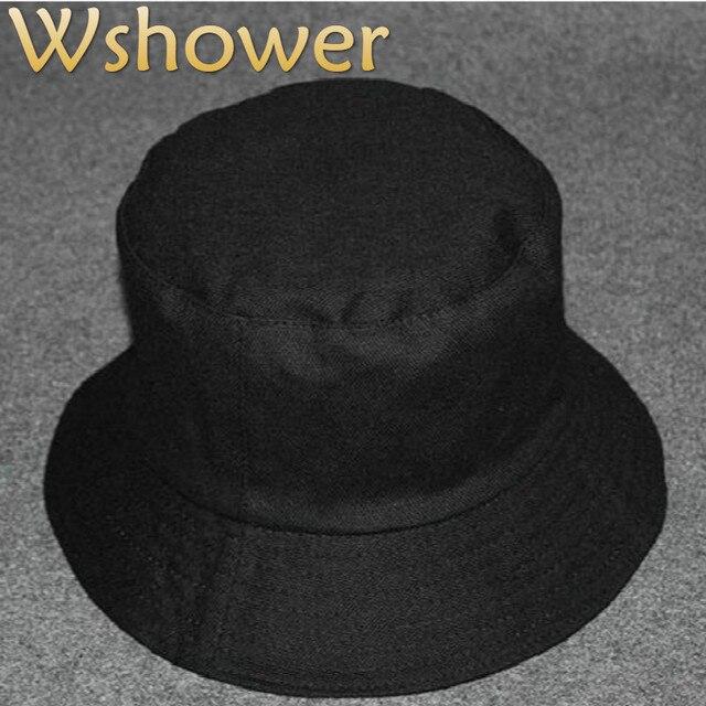 34e183d590ee € 5.37 20% de DESCUENTO|Que en la ducha algodón liso color sólido  reversible cubo sombrero Hip Hop en blanco dos lado verano Sol Panamá  mujeres ...
