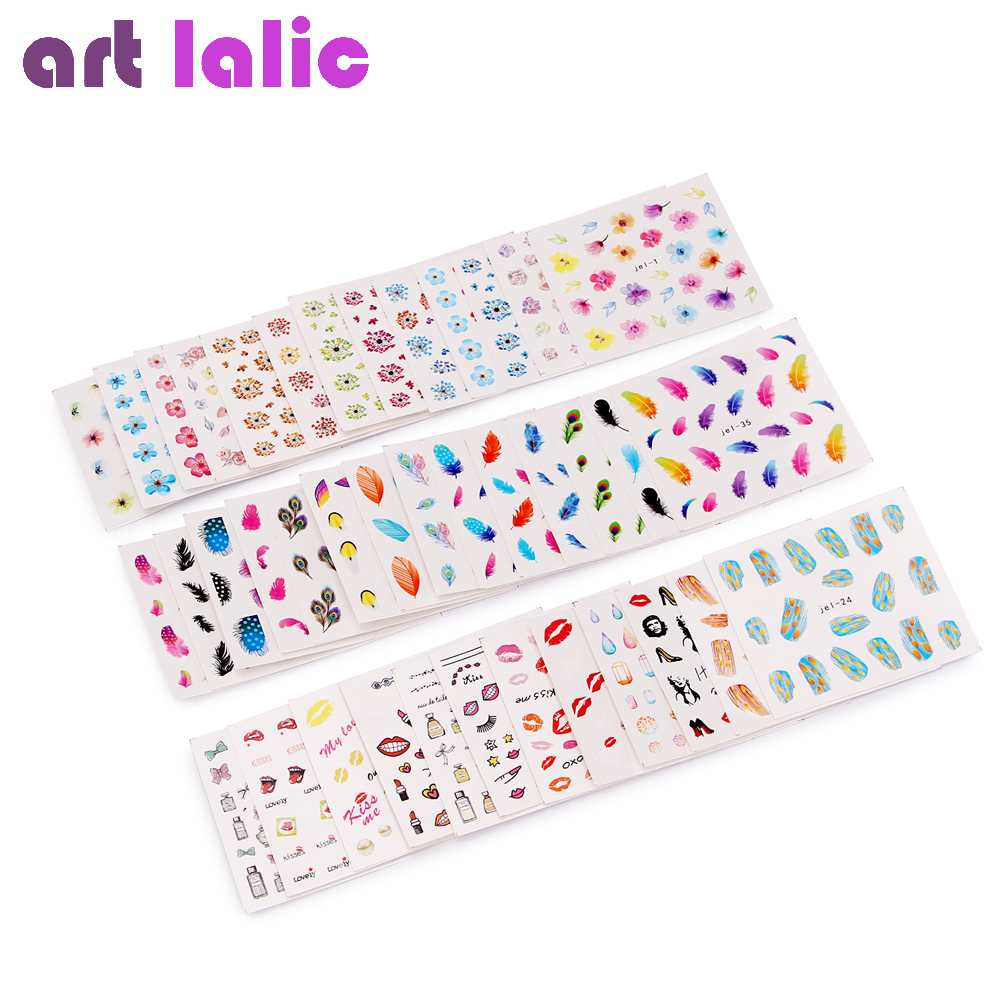 48 Sheets Mixed Flower Feather Pop Art Water Transfer Nail Art Sticker Watermark Decals DIY Decoration For Beauty Nail Tools 12 sheets nail sticker water transfer decals full wraps cat flowers feather design nail art set red decoration tips sastz501 512