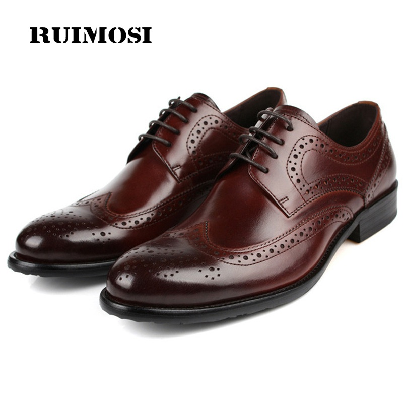 RUIMOSI Hot Sale Vintage Brand Man Formal Dress Shoes Genuine Leather Brogue Oxfords British Round Toe Men's Wing Tip Flats EC17