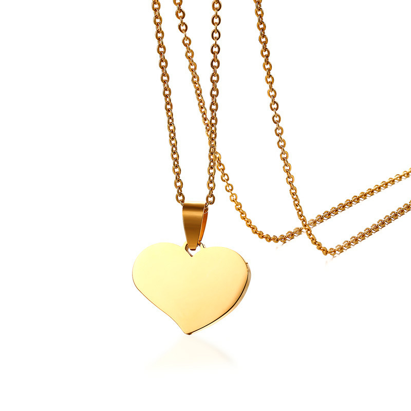 Minimalist Necklace Stainless Steel Charms Pendant Necklace Custom Blank Heart Shape With Chain Necklace Friendship