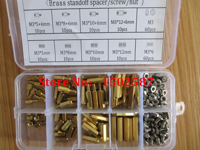200pcs M3 PCB Hex Male Female Thread Brass Spacer Standoffs/ Screw /Hex Nut Assortment set Kits with Plastic Box