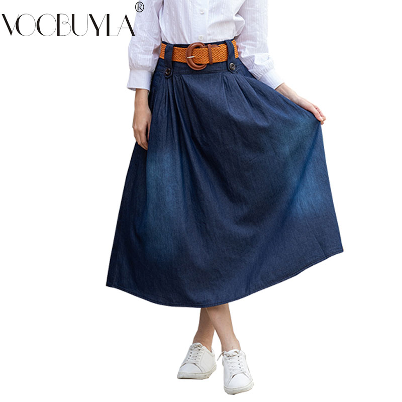 Fashion Pleated Long Jeans Skirt Women 2019 Spring Autumn Plus Size S 6XL Denim Skirts Saias