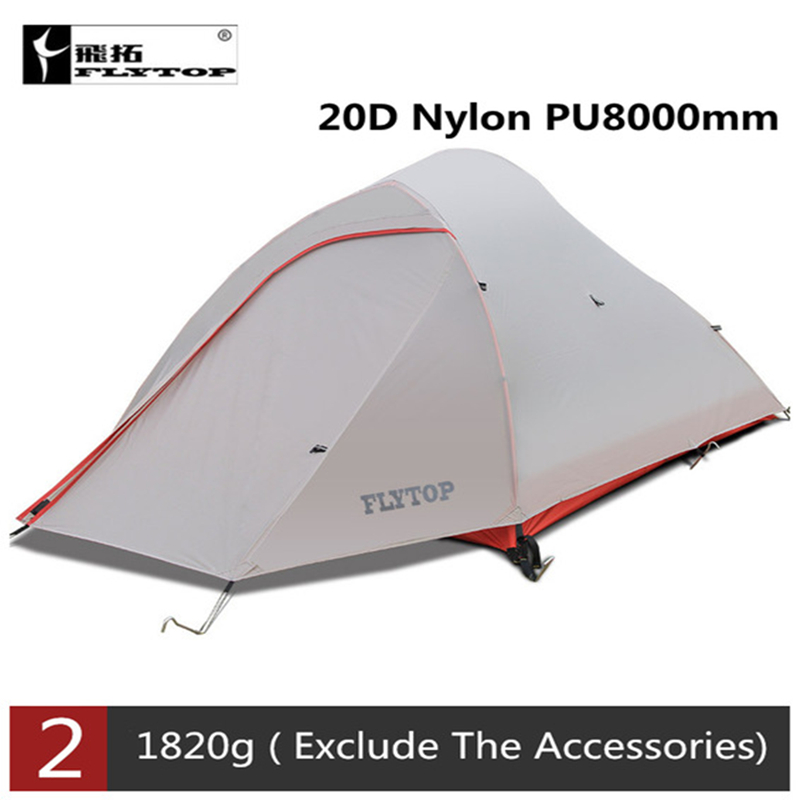 FLYTOP Camping Tent 1-2 Persons Ultralight Tent Aluminum Pole Double Layer Camping Tent 20D Nylon Silicone Waterproof PU8000MMFLYTOP Camping Tent 1-2 Persons Ultralight Tent Aluminum Pole Double Layer Camping Tent 20D Nylon Silicone Waterproof PU8000MM