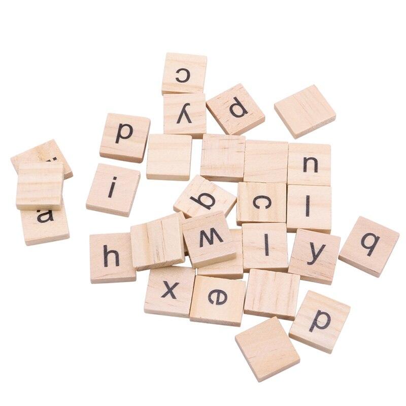 100Pcs Wooden Alphabet Scrabble Tiles Black Letters Crafts Wood Scrapbooking Home Decor Wedding Decoration