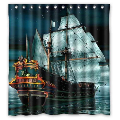 CHARMHOME Pirate Ship Waterproof Fabric Polyester Custom Shower ...