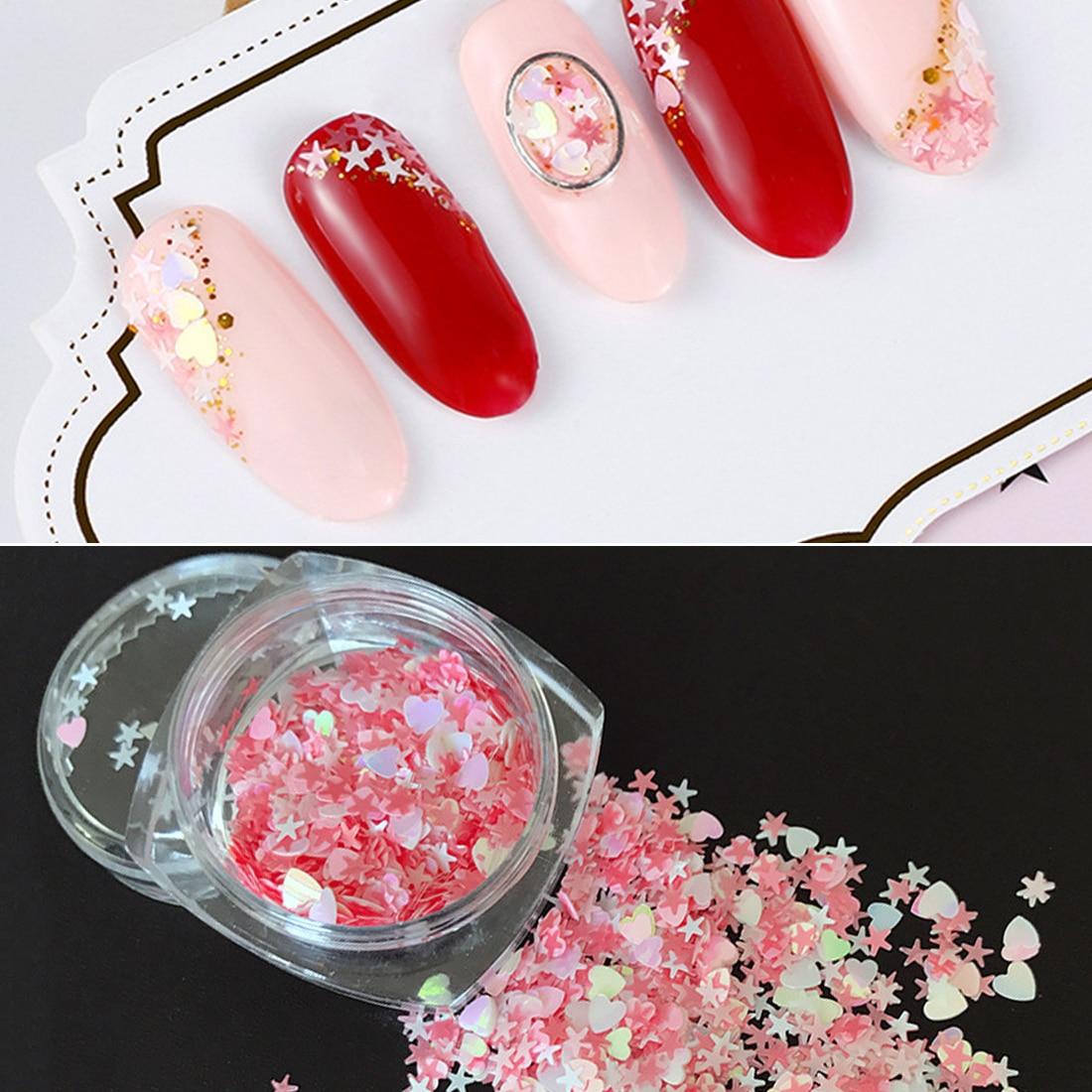 3D Shinning Nail Sequin Lucky Star/Moon/Heart Nail Glitter DIY 12 ...