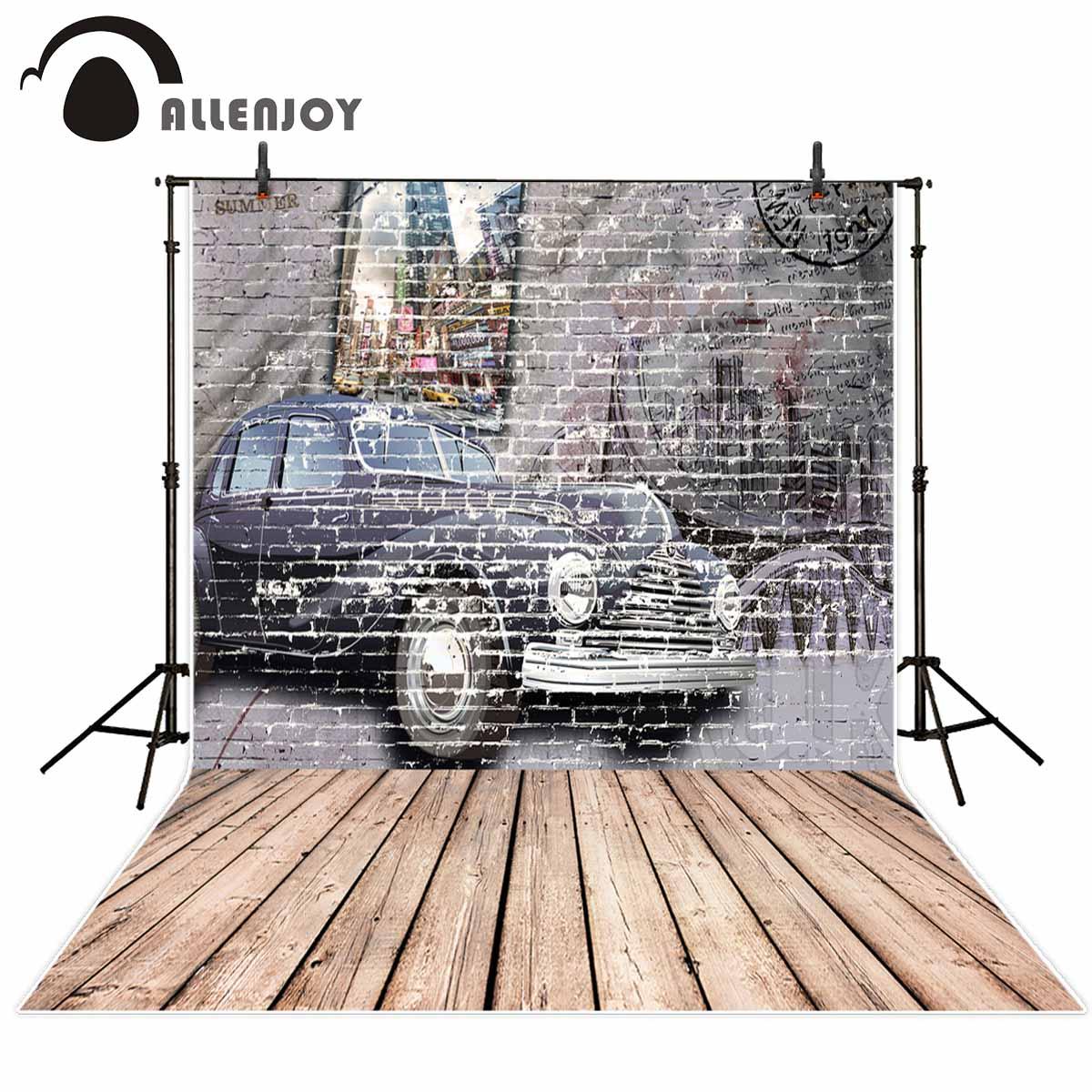 Allenjoy photo background bubble car Vintage Brick Wall Graffiti City Street Wooden Floor foto vinyl backdrops for photography