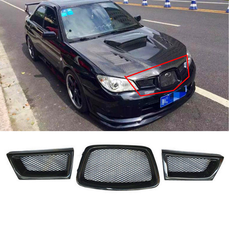 JX-LCLYL 3pcs Carbon Fiber Front Mesh Grille For Subaru Impreza WRX STi 9th 2006-2007 carbon fiber front headlight cover eyelid eyebrow for subaru impreza 9th 05 06