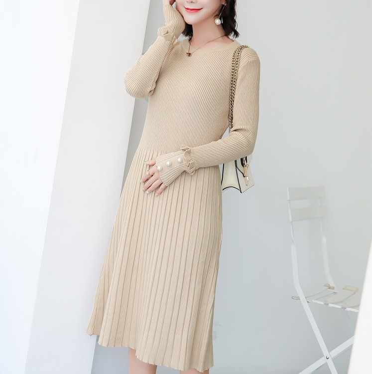 New Pregnant Women's Autumn Long Sweater Dress Beaded Sweater A Word Skirt pearl beaded flounce skirt