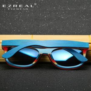 Image 4 - EZREAL סקייטבורד עץ משקפי שמש מסגרת כחולה עם עדשות 400 הגנה UV משקפי שמש במבוק שיקוף ציפוי בקופסא עץ