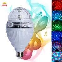 OOBEST Altoparlante Intelligente bluetooth E27 110 V/220 V LED RGB Luce di Musica Della Lampada Della Lampadina Cambiare Colore di Rotazione Automatica vendita caldo