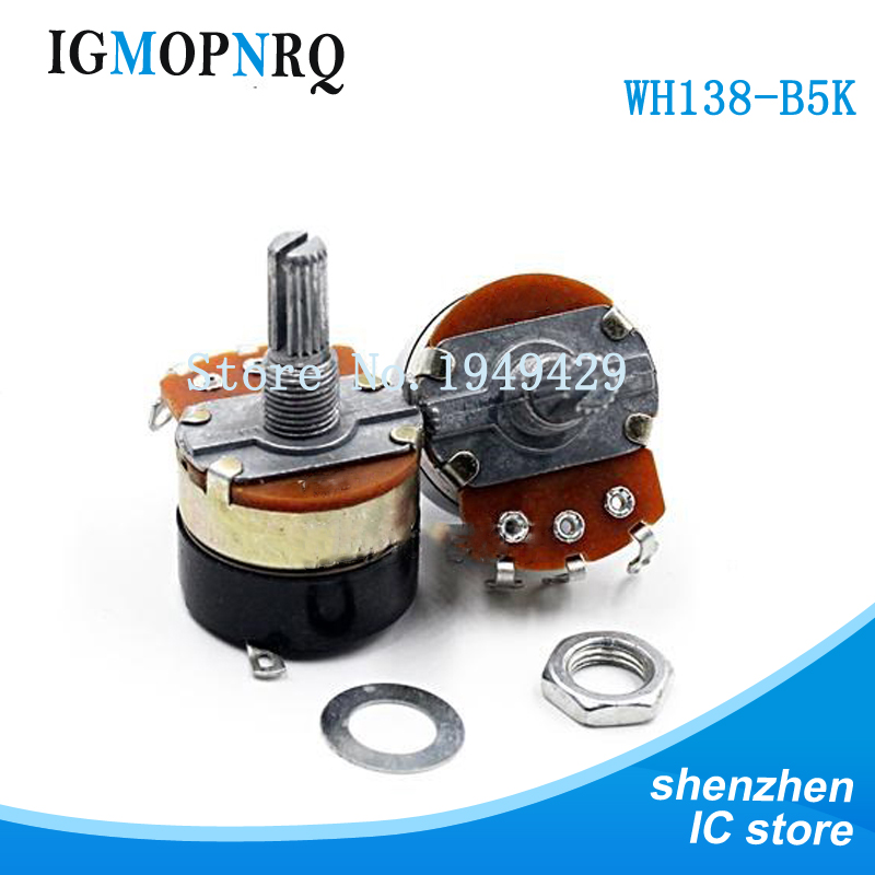 5PCS/LOT WH138-1 B5K B10K B20K B50K B100K BAdjustable Resistance Speed Regulator With Switch Potentiometer WH138 5K