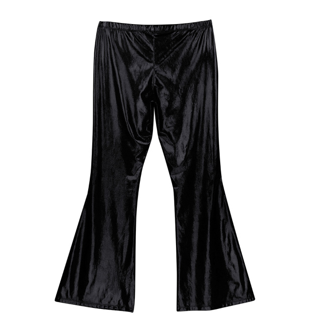 Adult Mens Moto Punk Style Party Pants Shiny Metallic Disco Pants with Bell Bottom Flared Long Pants Dude Costume Trousers 6