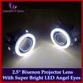 2.5 дюймов HID Биксенон Объектив Проектора С COB LED Angel Eyes Супер Яркий Белый Halo Фар/Фар Линзы, новый Автомобиль Стайлинг