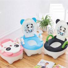 все цены на Baby potty toilet panda training toilet seat children's pot kids panda portable urinal comfortable backrest cartoon cute potty онлайн