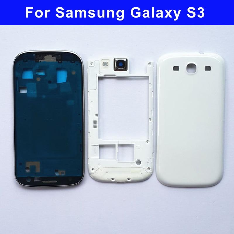 D'origine Plein Logement pour Samsung Galaxy S3 I9300 s3 neo 9300i 9301i Avant Cadre + Cadre Moyen + Couvercle de La Batterie porte Pièces De Rechange