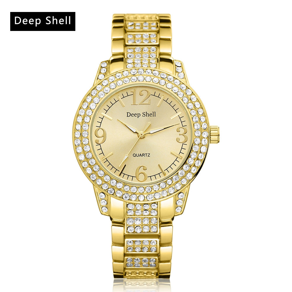 Deep Shell Brand Gold Stainless Steel Watch Creative Diamond Ladies WristWatches Women Fashion Luxury Watch Quartz Watch DS023 onlyou luxury brand fashion watch women men business quartz watch stainless steel lovers wristwatches ladies dress watch 6903