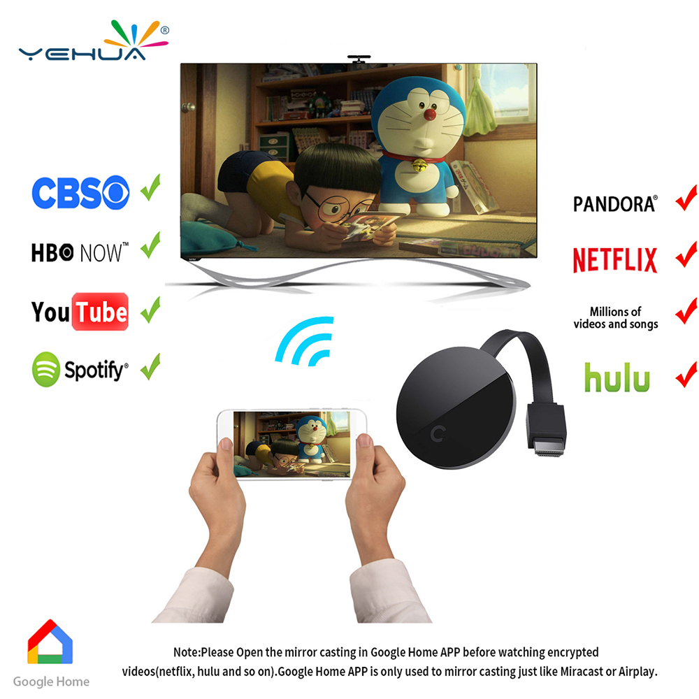 Yehua G5 Chromecast Wifi Display Dongle Receiver Full 1080p HDMI Miracast Chrom cast DLNA AirPlay for Google Chromecast ...