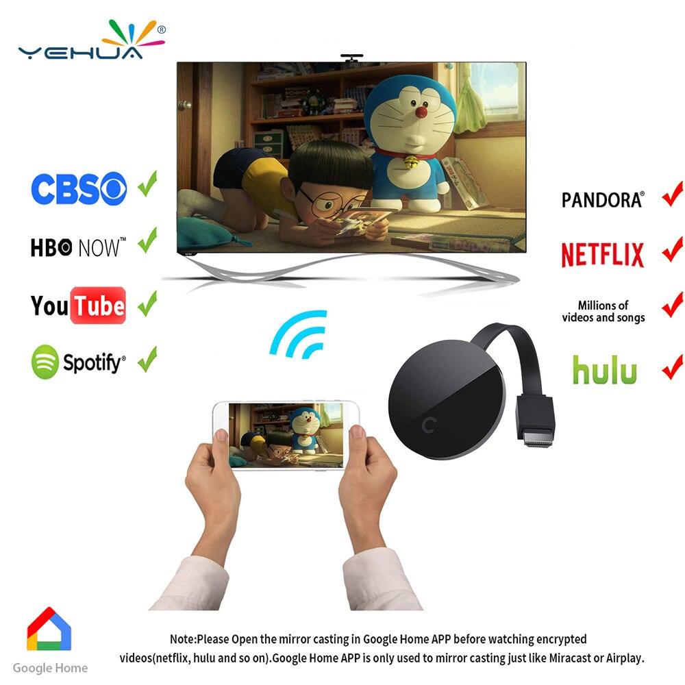 Yehua G5 Chromecast Wi-fi Exibição Dongle Receptor Full 1080 p HDMI Miracast DLNA AirPlay para O Google Chromecast fundido Chrom