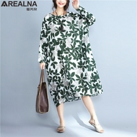 AREALNA 2017 Autumn New Fashion Cotton Linen Vintage Print Plus Size Maxi Dress Women Casual Loose