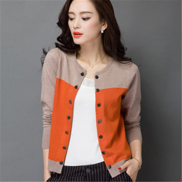 Nice High Quality Autumn Winter Sweater Women Cardigan Sweater Spell Color  Loose Double Breasted Women Cashmere 74e31749b