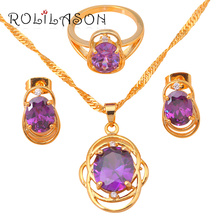 ROLILASON Best Gift Wholesale & Retail Fashion jewelry gold tone Crystal Zircon Jewelry Sets Earrings Necklace Ring JS012