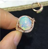 Бесплатная доставка модные кольцо Настоящее S925 Серебро инкрустированные натуральный опал кольцо 9*11 мм