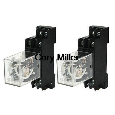 DPDT 8Pins 10A Electromagnetic Relay AC220V Coil w 35mm DIN Rail Socket цена и фото