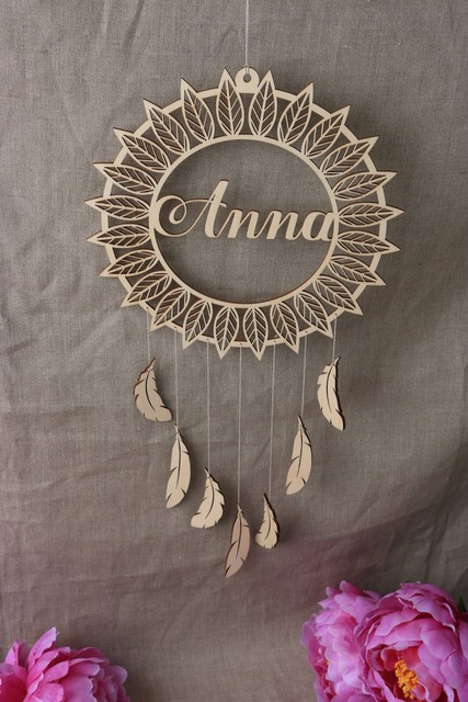 Personalized Dream Catcher Wooden Wall Decor With Name Nursery New Baby