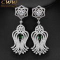 CWW Vintage Women Costume Jewelry Micro Pave Cubic Zirconia Long Drop Earring With Green Blue Crystal CZ070