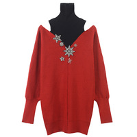 SRUILEE Design Sexy Off Shoulder Sweater Fake Two Pieces Winter Jumper Women Sweater Star Beading Pullovers Knit Tops Runway