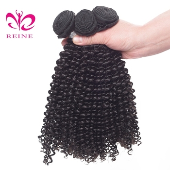 Reine Hair Pre-colored Peruvian Kinky Curly Wave Human Hair Bundles Natural Black Non Remy Hair Extension 3 Bundles