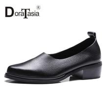 DoraTasia Size 34-39 Women Retro Roman Style Genuine Leather Chunky Heel Pumps Round Roe Platform Summer Spring Shoes