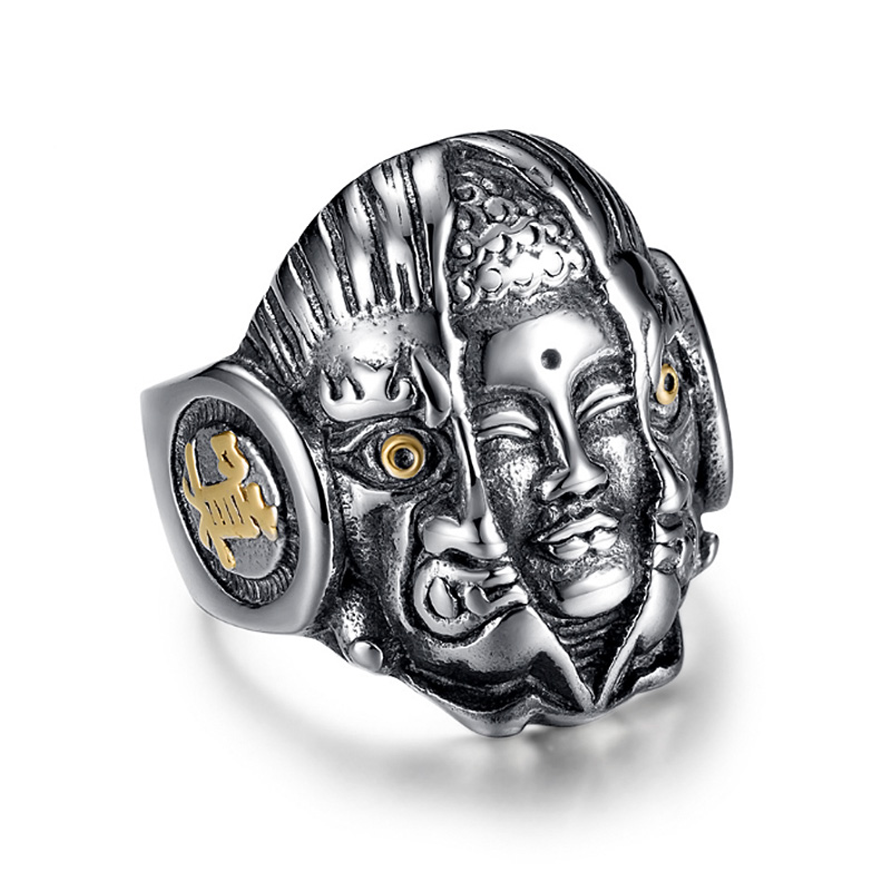 Demon & Buddha Religion Face Ring For Men Lord God The Eye Of Evil One Ring  Punk Domineering Signet Ring Titanium Jewelry