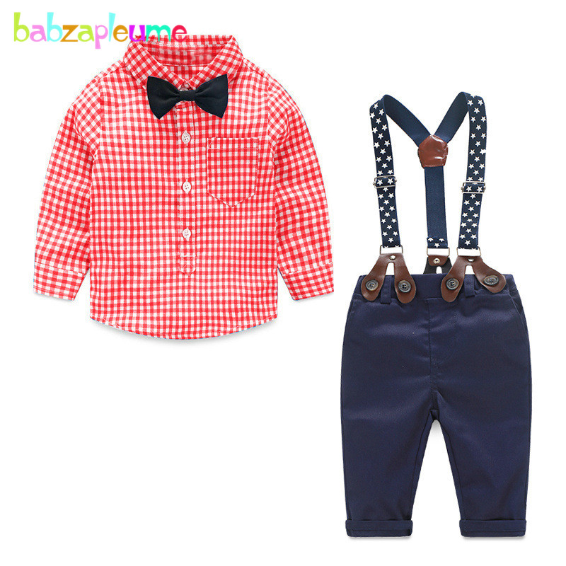spring autumn newborn baby boys clothes sets 1st birthday outfits plaid shirt+pants Overalls kids infant clothing 2 piece BC1155