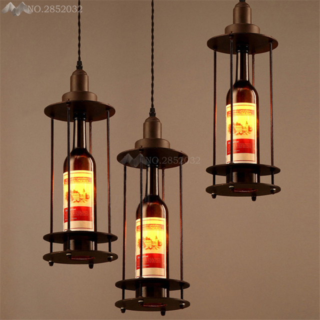 Attrayant Modern American Country Loft Vintage Wine Bottle Pendant Lights  Cafe Room/Bar Decoration Single